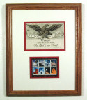 In God We Trust stamp art presentation framed in solid oak frame.